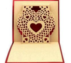 3D heart card file cdr and dxf free vector download for Laser cut