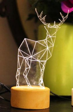 3D illusion led lamp Deer free vector download for laser engraving machines