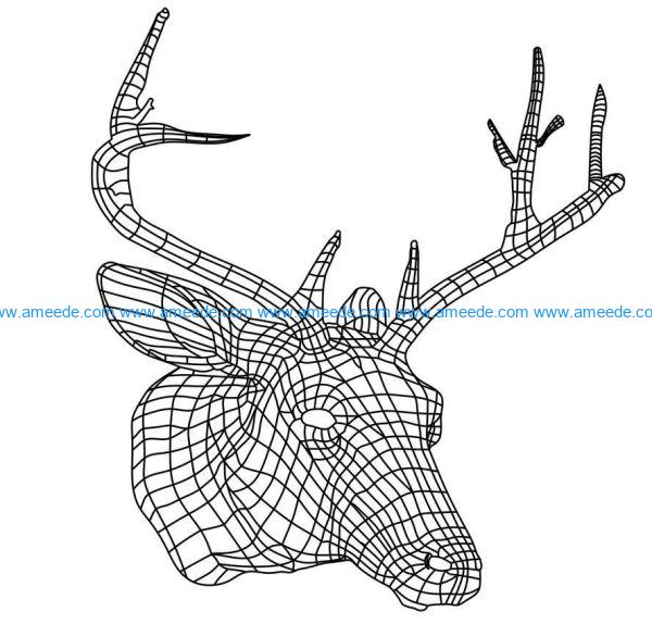 3D illusion led lamp deer head free vector download for laser engraving machines