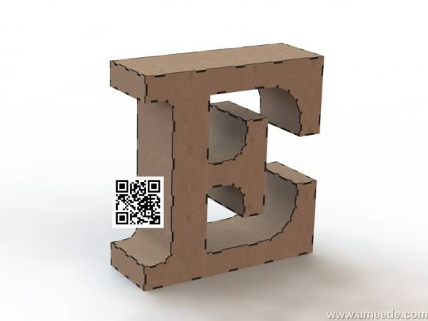 3d letter E file cdr and dxf free vector download for Laser cut