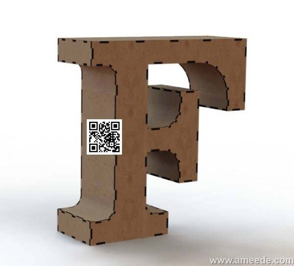3d letter F file cdr and dxf free vector download for Laser cut