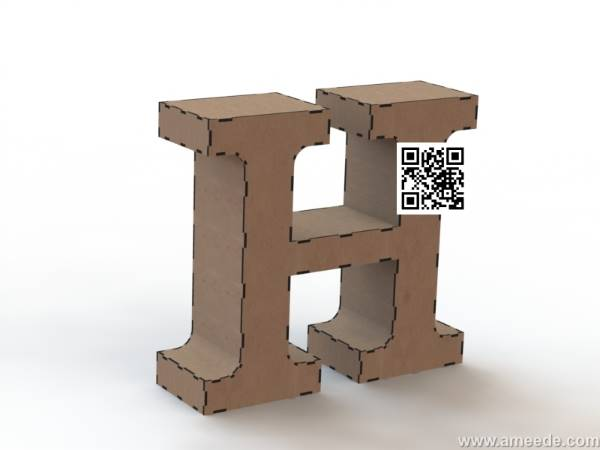 3d letter H file cdr and dxf free vector download for Laser cut