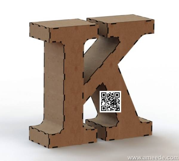 3d letter K file cdr and dxf free vector download for Laser cut