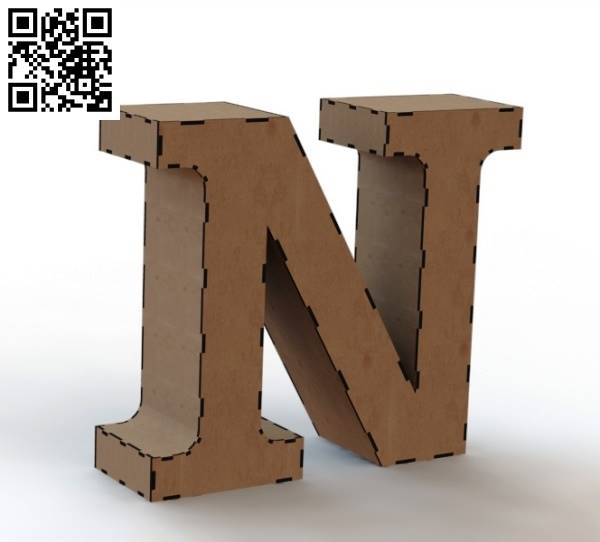 3d letter N file cdr and dxf free vector download for Laser cut