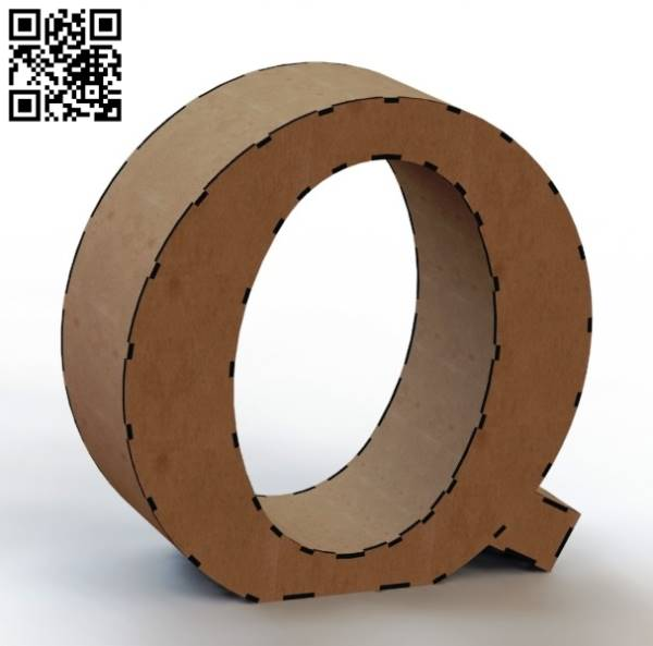 3d letter Q file cdr and dxf free vector download for Laser cut