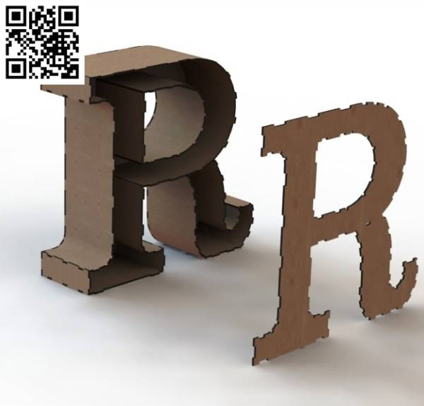 3d letter R file cdr and dxf free vector download for Laser cut