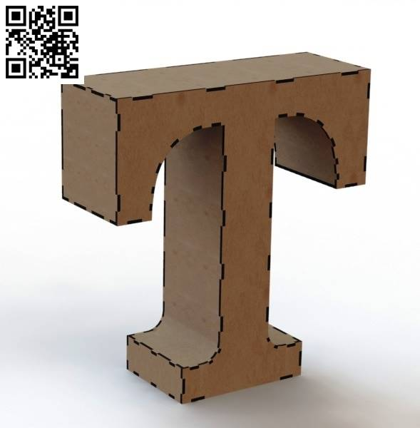 3d letter T file cdr and dxf free vector download for Laser cut