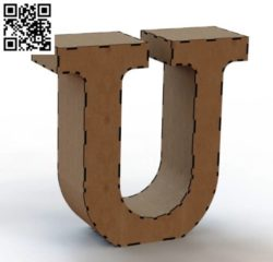 3d letter U file cdr and dxf free vector download for Laser cut