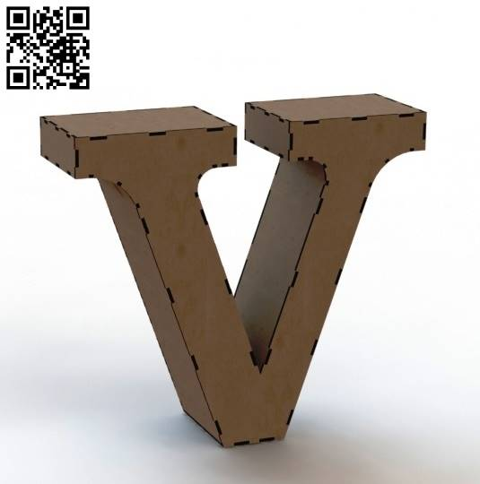 3d letter V file cdr and dxf free vector download for Laser cut