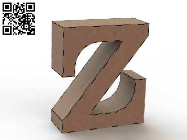 3d letter Z file cdr and dxf free vector download for Laser cut