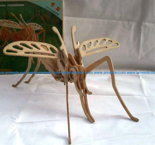 3d puzzle mosquito file cdr and dxf free vector download for Laser cut
