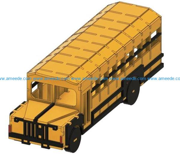 Bus file cdr and dxf free vector download for Laser cut