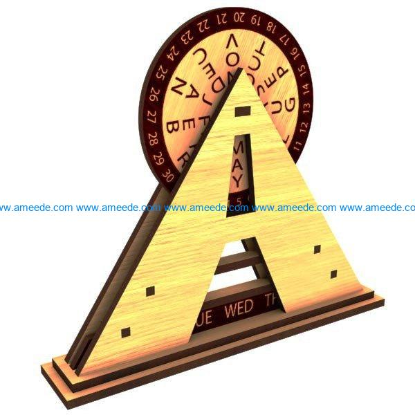 Calendar pyramid file cdr and dxf free vector download for Laser cut