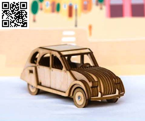 Citroen 2CV file cdr and dxf free vector download for Laser cut