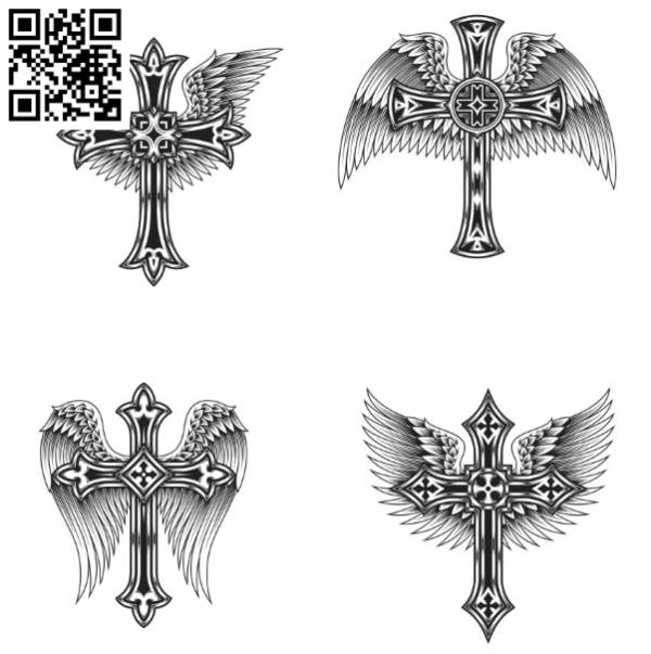 Cross with wings file cdr and dxf free vector download for laser engraving machines