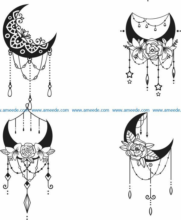 Decorative crescent file cdr and dxf free vector download for laser engraving machines
