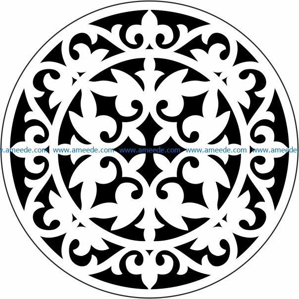 Decorative motifs circle E0009722 file cdr and dxf free vector download for Laser cut