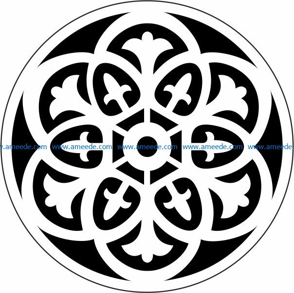 Decorative motifs circle E0009723 file cdr and dxf free vector download for Laser cut