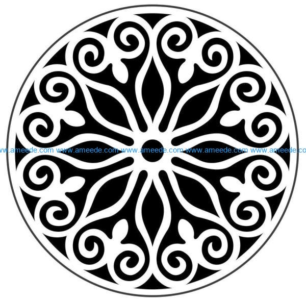 Decorative motifs circle E0009824 file cdr and dxf free vector download for Laser cut