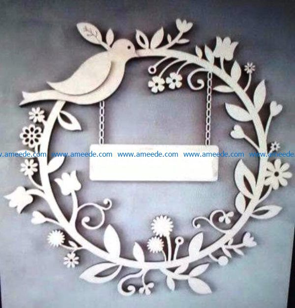 Decorative wreath file cdr and dxf free vector download for Laser cut