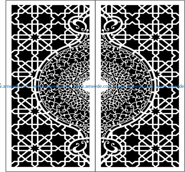 Design pattern door E0009729 file cdr and dxf free vector download for Laser cut CNC