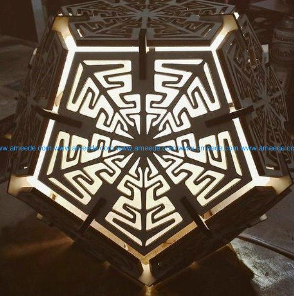 Dodecahedron lamp file cdr and dxf free vector download for Laser cut