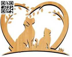 Dog and cat file cdr and dxf free vector download for laser engraving machines