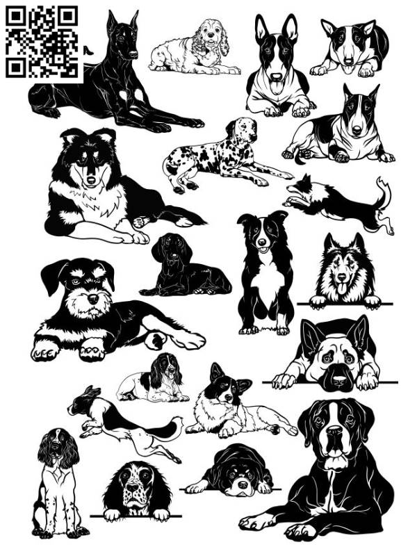 Dog set file cdr and dxf free vector download for laser engraving machines