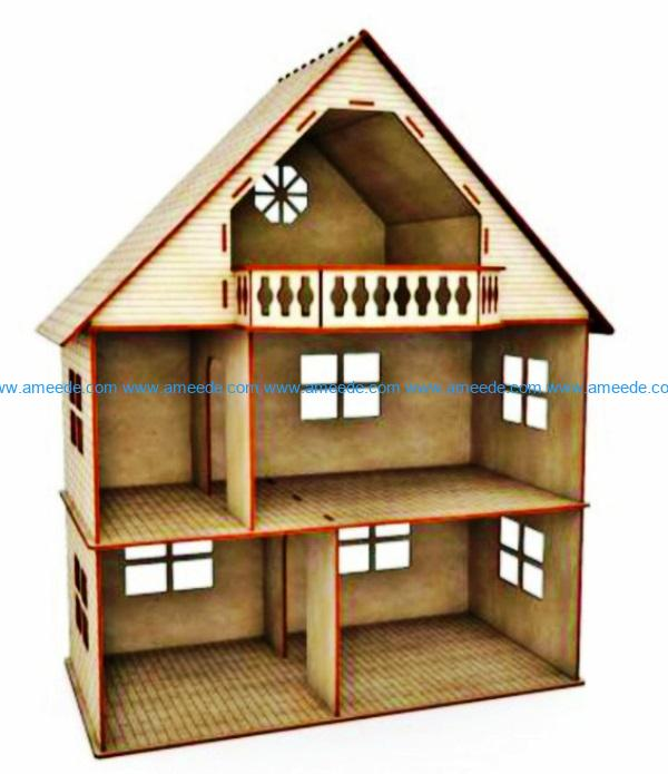 Dollhouse file cdr and dxf free vector download for Laser cut