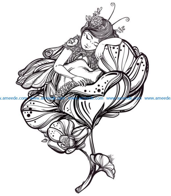 Fairy in flowers file cdr and dxf free vector download for laser engraving machines