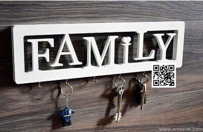 Family key holder file cdr and dxf free vector download for Laser cut