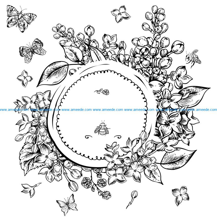 Flowers with insects file cdr and dxf free vector download for laser engraving machines