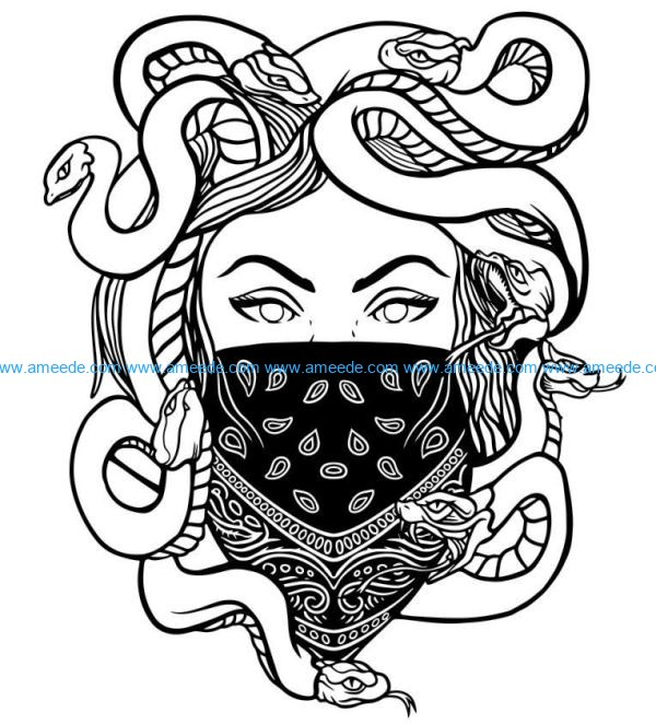 Girl with a snake head file cdr and dxf free vector download for laser engraving machines