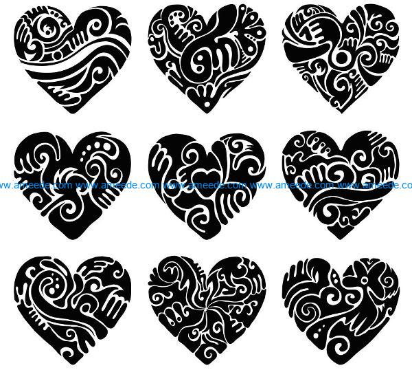 Heart carved file cdr and dxf free vector download for laser engraving machines