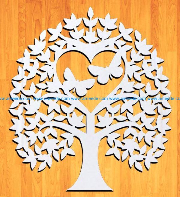 Heart tree and butterfly file cdr and dxf free vector download for Laser cut