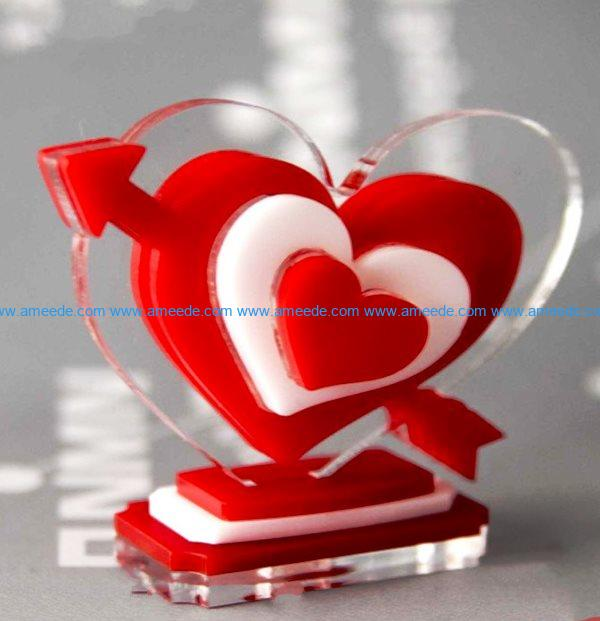 Heart with arrows file cdr and dxf free vector download for Laser cut