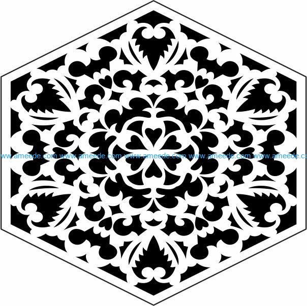 Hexagonal decorative motifs file cdr and dxf free vector download for Laser cut