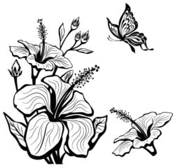 Hibiscus flowers and butterflies file cdr and dxf free vector download for laser engraving machines