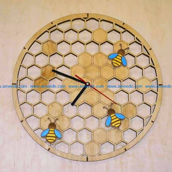 Honeycomb wall clock file cdr and dxf free vector download for Laser cut