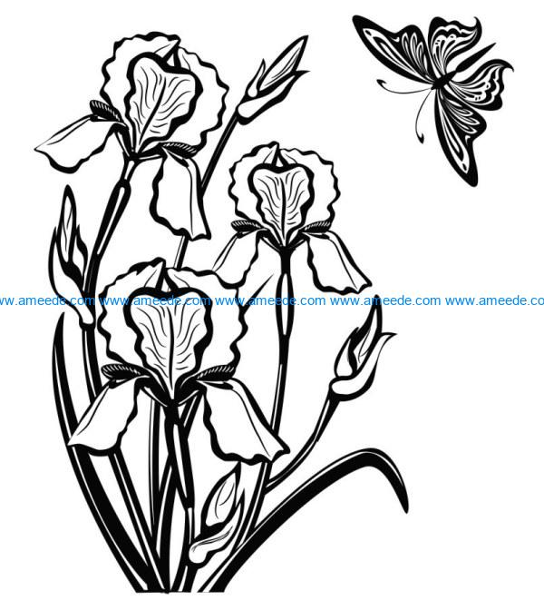 Iris flower and butterfly file cdr and dxf free vector download for print or laser engraving machines