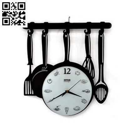 Kitchen utensils clock file cdr and dxf free vector download for Laser cut