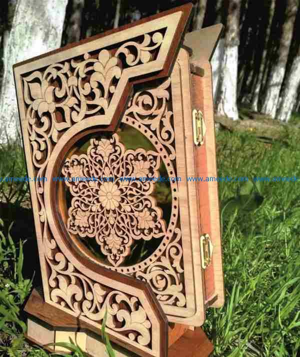 MDF Quran holder file cdr and dxf free vector download for Laser cut