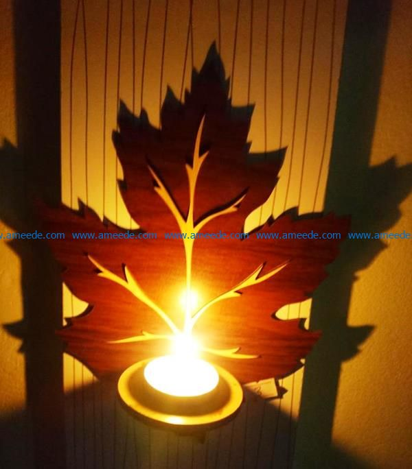 Maple leaves candlesticks file cdr and dxf free vector download for Laser cut