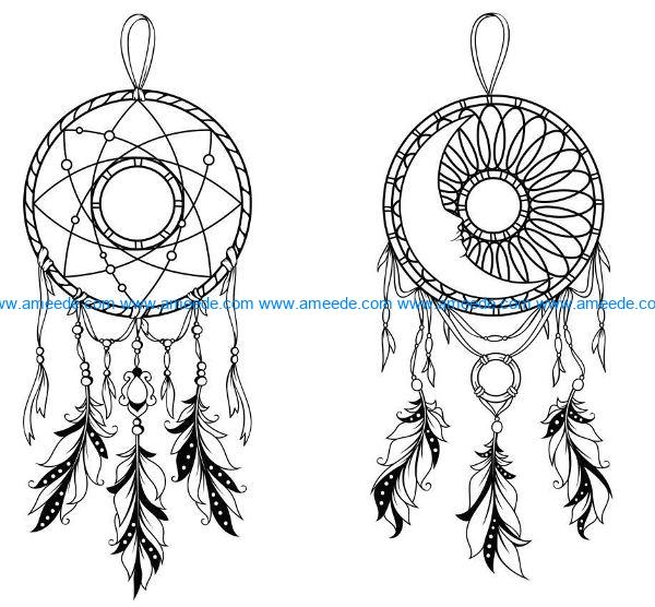 Moon dream catcher file cdr and dxf free vector download for Laser cut