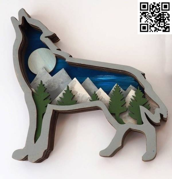 Multilayered wolf file cdr and dxf free vector download for Laser cut