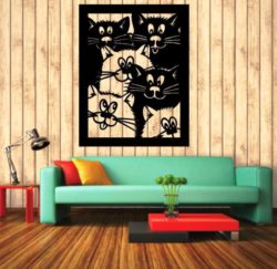 Murals of lovely cats file cdr and dxf free vector download for Laser cut