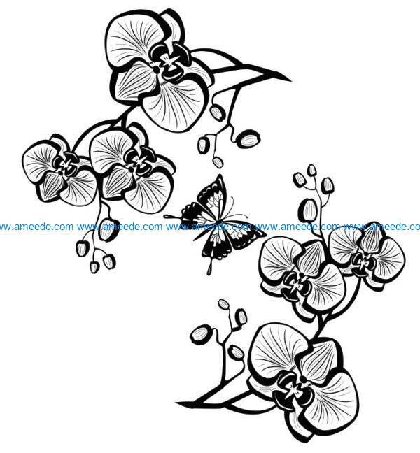 Orchids and butterflies file cdr and dxf free vector download for laser engraving machines