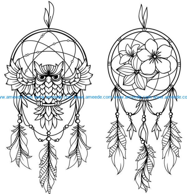 Owl dream catcher file cdr and dxf free vector download for Laser cut