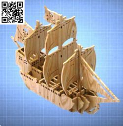 Pirate ship file cdr and dxf free vector download for Laser cut