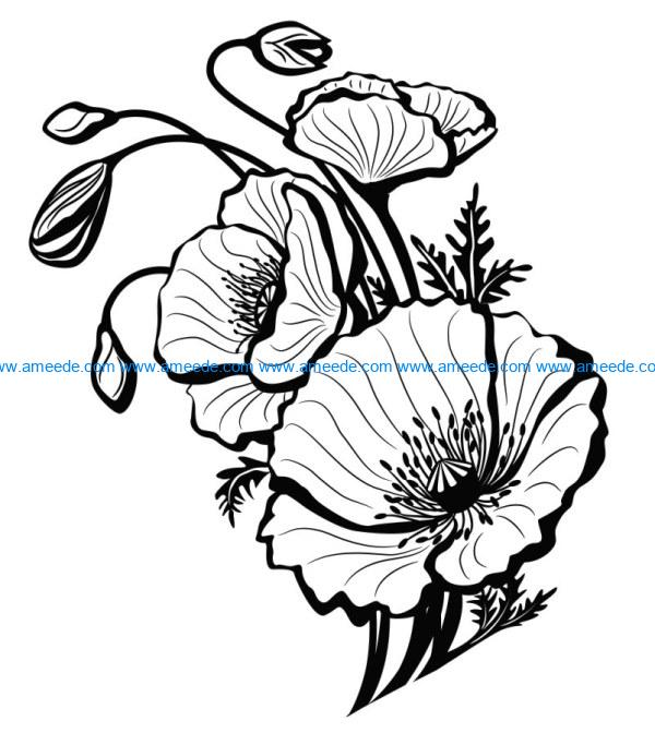 Poppies file cdr and dxf free vector download for print or laser engraving machines